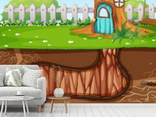 Underground animal hole with ground surface of the garden scene