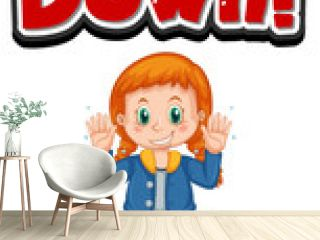 Lock down font design with a girl cartoon character isolated on white background