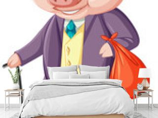 Peter rabbit concept with A pig wearing suit cartoon character isolated