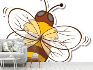 Sticker design with honey bee isolated