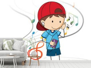 Doodle cartoon character of a boy listening music with musical melody symbols