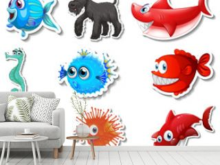 Set of stickers with sea animals and dogs cartoon character