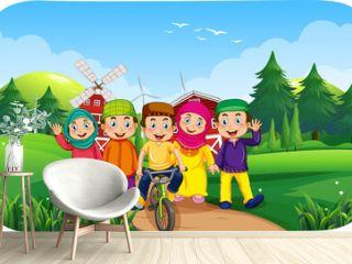 Outdoor farm scene with many muslim children