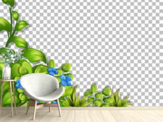 Tropical flowers and leaves on transparent background