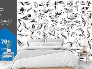 Big Set of Design Decorative Elements. Floral Swirls. Stock Vector
