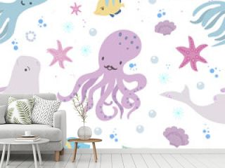Seamless pattern whith sea animals, fishes, corals and shells. Underwater world, hand drawn doodle vector illustration.