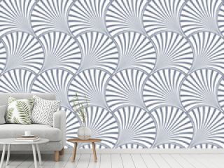 Vector Art deco seamless pattern. Minimalistic geometric design. Vintage elegant background. Fan style texture in gray and white.