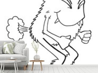 Cute Farting Monster Coloring book Page Vector Illustration Art