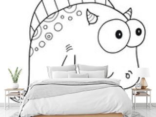 Cute Monster Coloring Book Page Vector Illustration Art