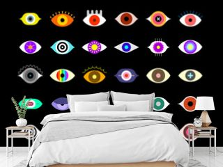 Colored vector icons isolated on a black background. Large bundle of human eyes, decorative design elements.