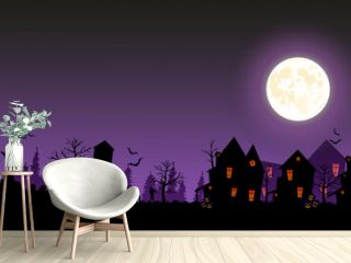 Halloween street with old houses and zombies. Vector illustration of Halloween 2021. Ominous cemetery, zombies and village.