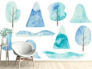 Watercolor illustration hand painted huge bank of snow drift, mountain, blue trees for Christmas, New Year isolated on white. Winter clip art elements for design postcard, packaging, fabric material