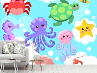 Cute sea animals set cartoon vector