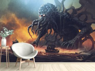 Dark fantasy scene showing Cthulhu the giant sea monster destroying ships, digital art style, illustration painting