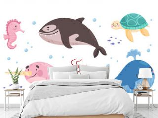 Sea Animals with Whale and Turtle Floating Underwater Vector Set