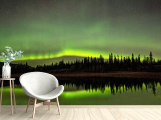 Aurora Borealis Reflected In Still Water