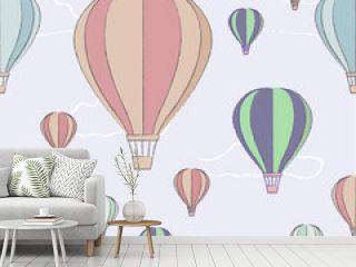 Flying balloon transportation object seamless texture pattern illustration.