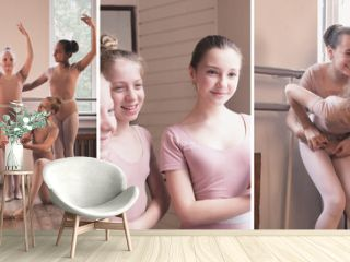 Composite image of photos of little girls, young ballerinas training near the ballet barre at studio. Collage