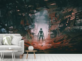 futuristic woman with many cables connecting her body standing in an abandoned building full of red slime, digital art style, illustration painting