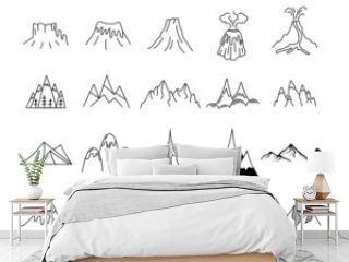 Simple mountains icons shapes set. Logo creation kit. Outdoor adventure line art mountain elements bundle. Silhouette linear concept. Stock hills collection