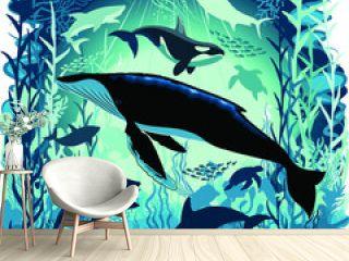 Sealife Blue Shades Dream Underwater Scenery Vector Art Background