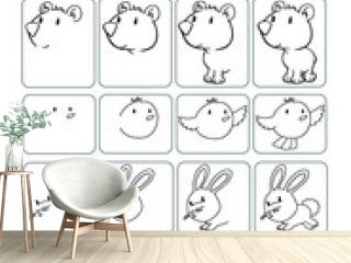 Cute Animals How to Draw worksheet Vector Illustration Art