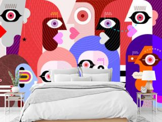 Hypnotic Person Among A Group Of People modern art vector illustration. Abstract artwork of many different faces.