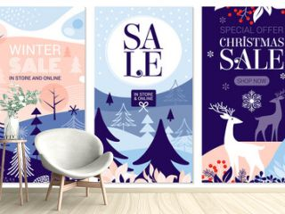 Collection of abstract background designs, winter sale, social media promotional content. Vector illustration