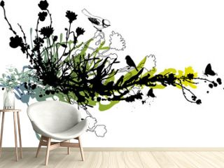 abstract floral background with birds and butterflies