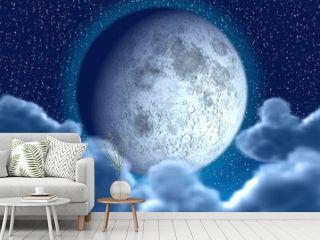 Starlit night with full moon