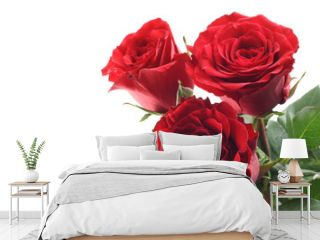 three beautiful red roses isolated on white