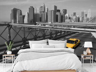 New York - Brooklyn Bridge e taxi giallo