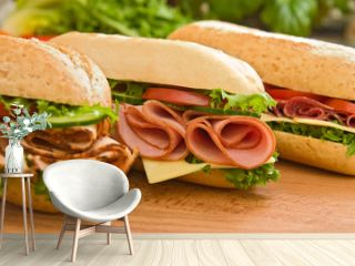 Ham sandwich, turkey sandwich and salami sandwich