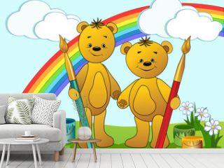 Cartoon funny bears.