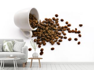 white cup with coffe beans isolated