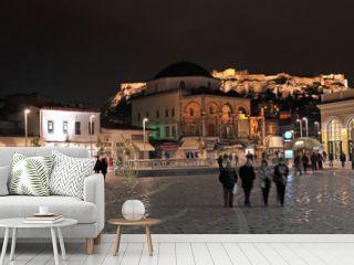 Monastiraki square at night, Athens, Greece