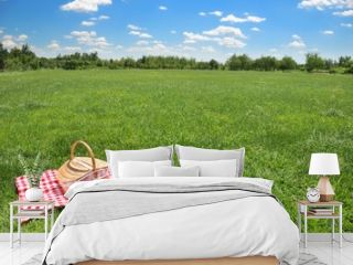 picnic setting on meadow with copy space