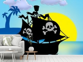 Sunset with pirate ship silhouette