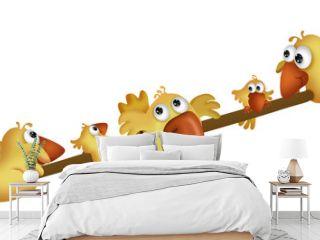 Yellow birds on a teeter board
