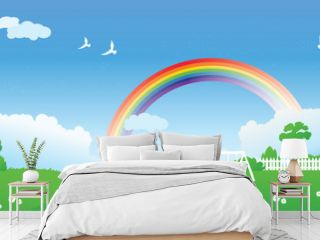 Spring scene with rainbow
