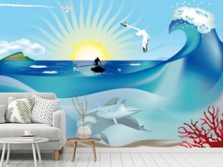delfini con pescatore