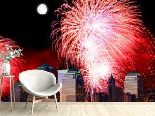 The New York City skyline and fireworks