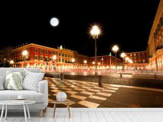 The Plaza Massena Square at night in Nice