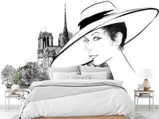 Woman nearby Notre Dame in Paris