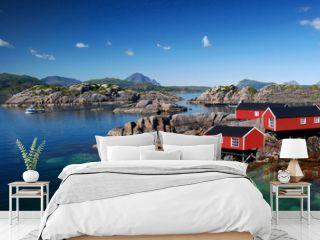 Drei Rorbu Blockütten am Fjord