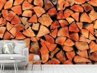 firewood wood pile stacked triangle shape