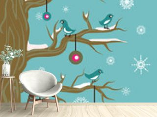 New Year illustration with birds and ball
