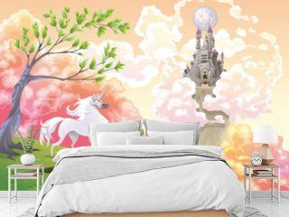 Unicorn and mythological landscape. Vector illustration