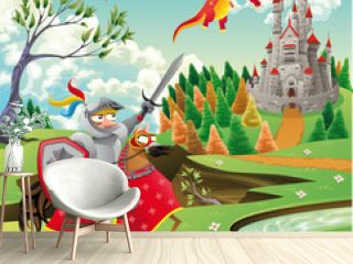 Panorama with castle, dragon and knight. Vector illustration