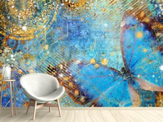 artistic blue shiny background with butterfly